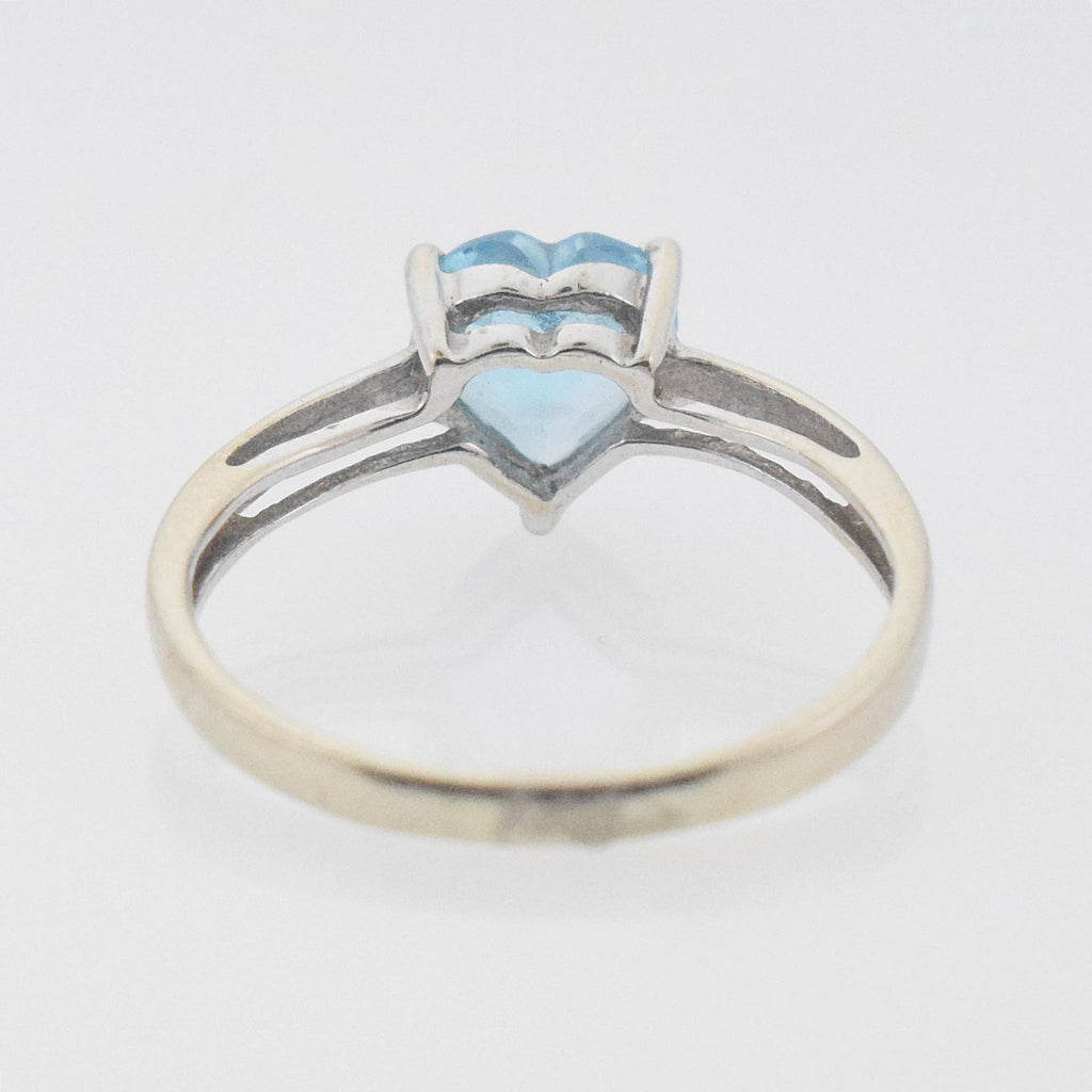 14k WG Light Blue Topaz Heart Shape Ring Size 4.25