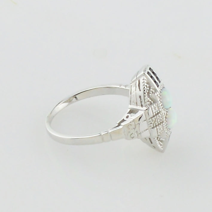 NEW Sterling Silver 925 Art Deco Opal & Black CZ Ring