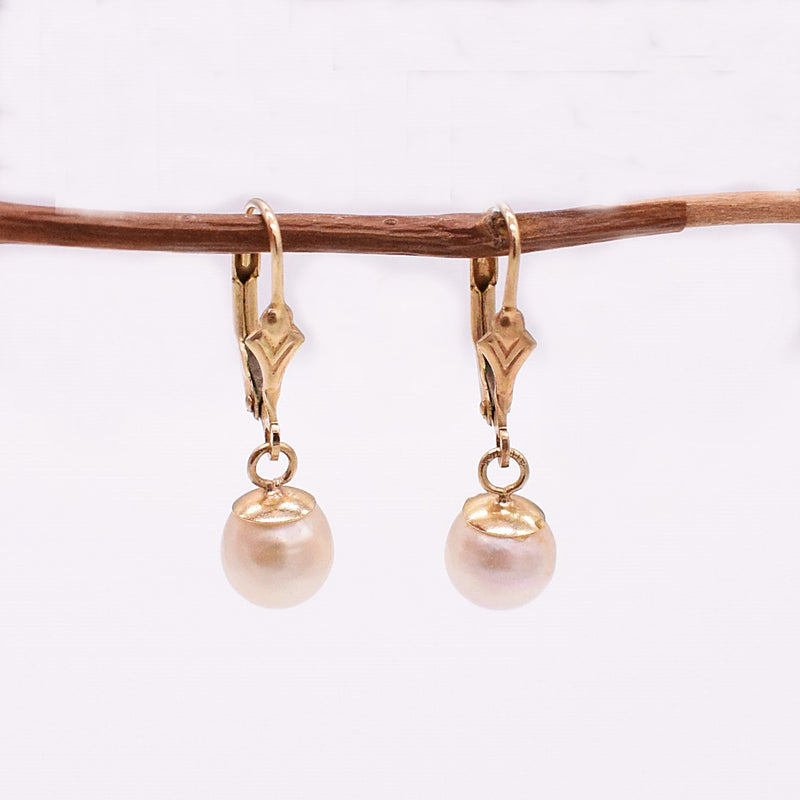 14k YG Drop/Dangle Pearl Leverback Earrings