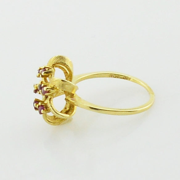 14k Yellow Gold Estate Ruby Ribbon Multistone Ring Size 6.5