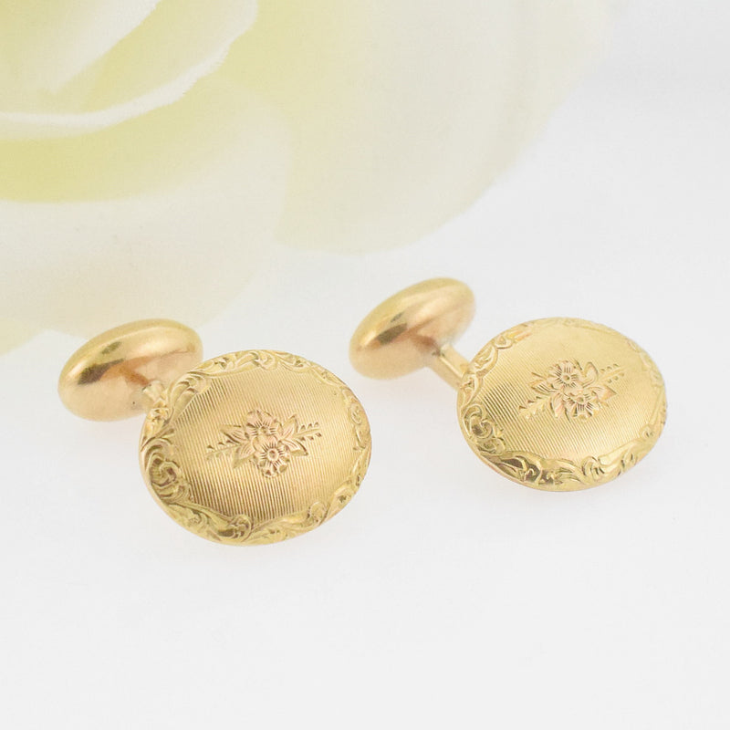 14k YG Etched Flower Motif Oval Cuff links