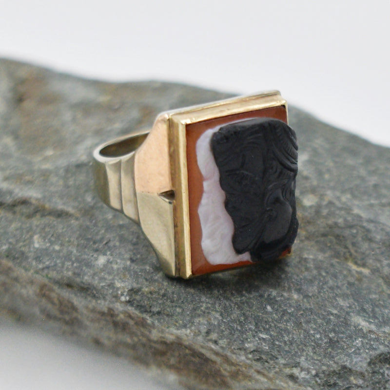 10k White & Rose Gold Antique Double Face Carnelian Cameo Ring Size 9