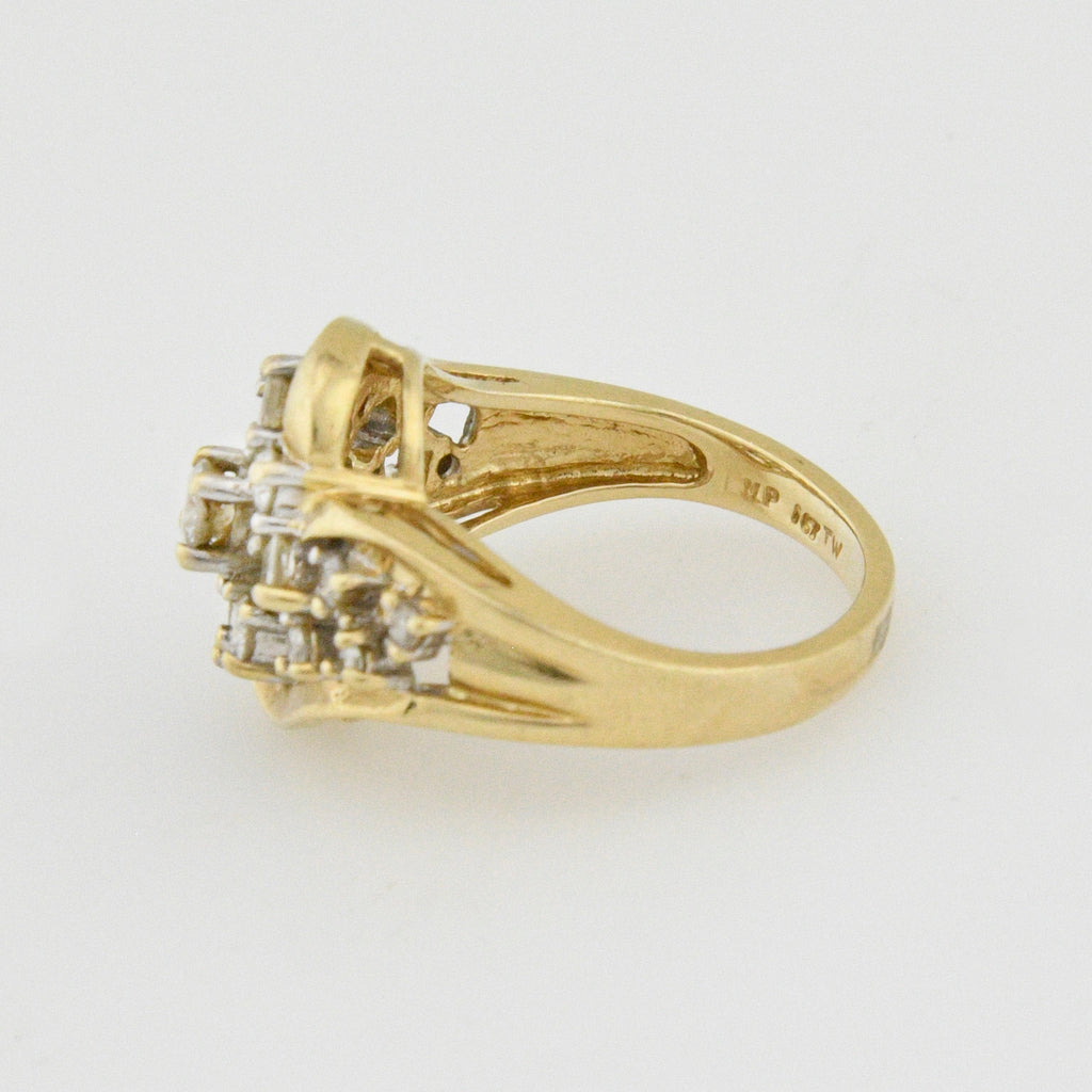 14k Yellow Gold Open 1 Ctw Work Diamond Cocktail Cluster Ring Size 7.5