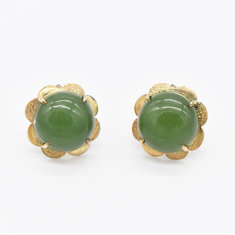 14k Yellow Gold Estate Cabochon Jade Post Earrings