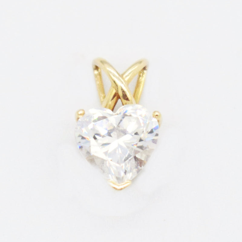 14k Yellow Gold Estate CZ Heart Pendant
