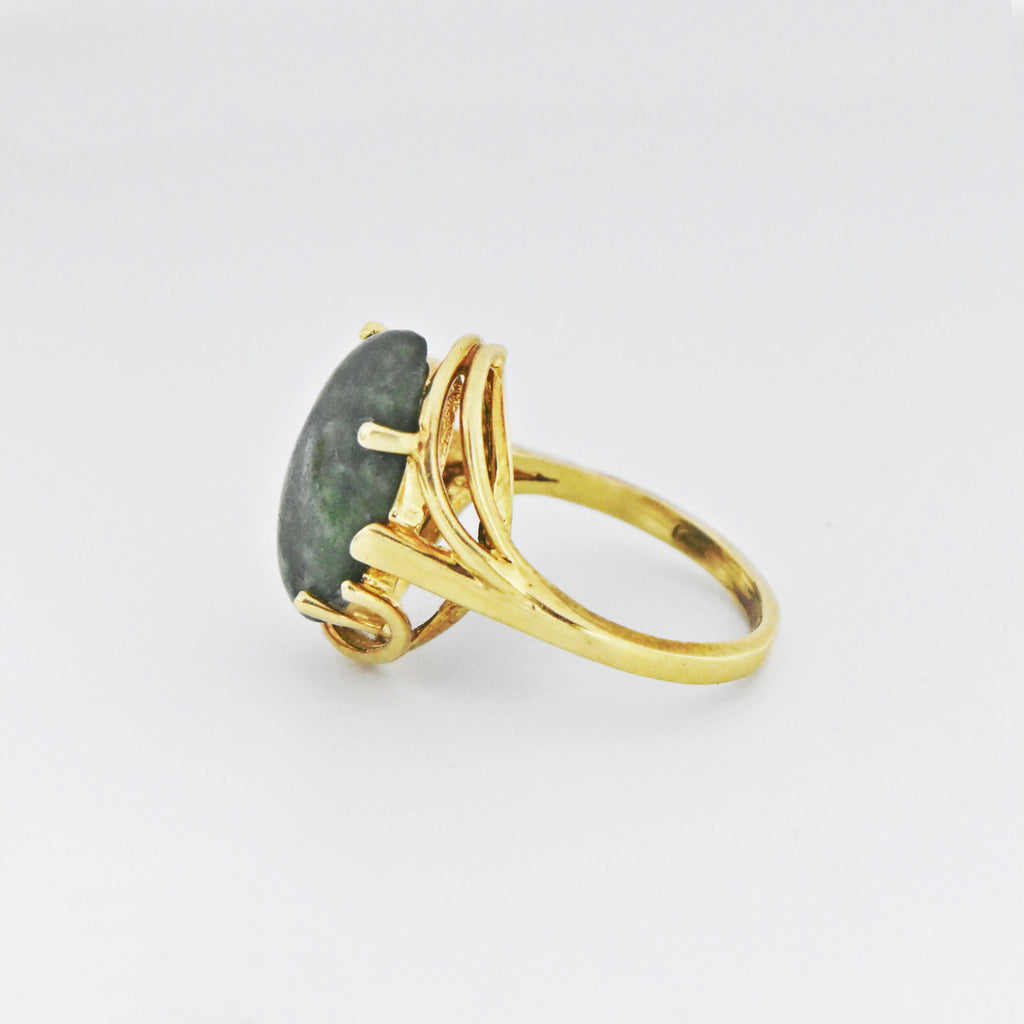 14k Yellow Gold Vintage Oval Moss Agate Ring Size 6.5