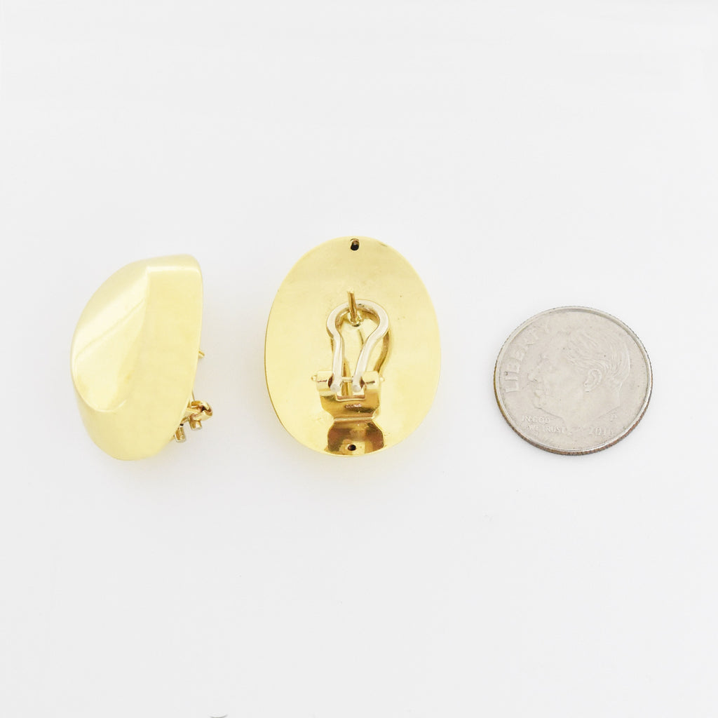 14k Yellow Gold Modern Oval Omega Back Earrings