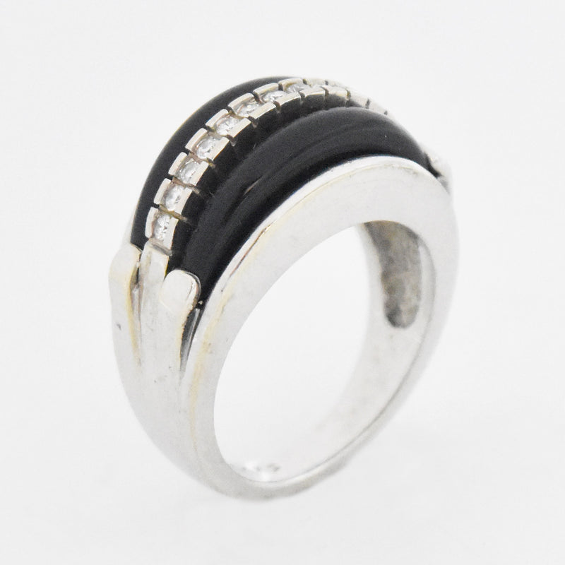 14k White Gold Estate Diamond & Onyx Dome Band/Ring Size 7.75