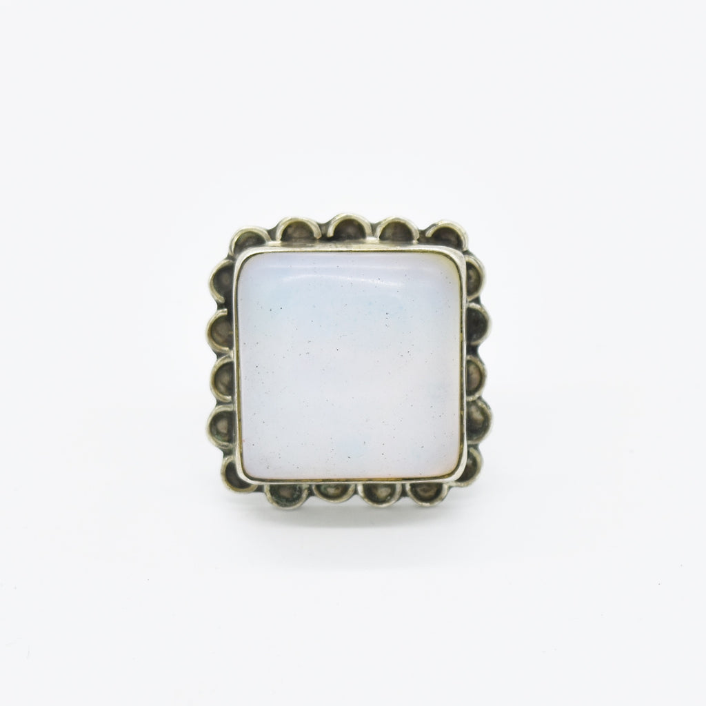 Sterling Silver 925 Estate Square White Opalescent Ring Size 7.75