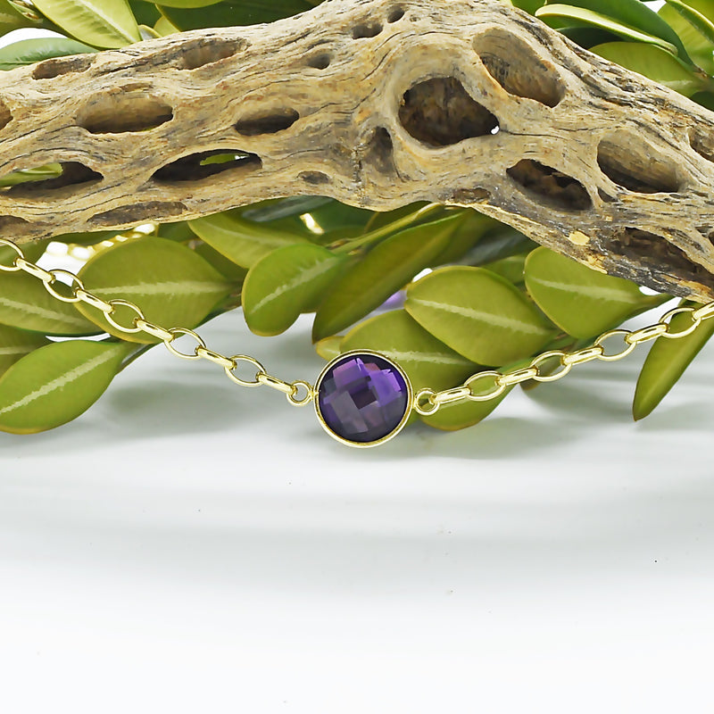 "14k Yellow Gold Estate 36"" Long Rolo Link Amethyst Necklace"