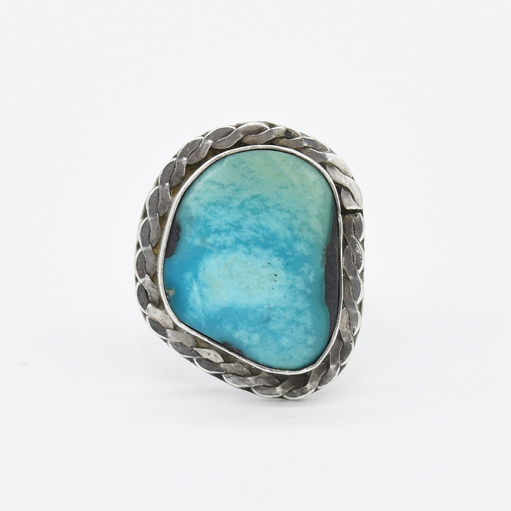 Sterling Silver 925 Estate Abstract Textured Turquoise Ring Size 5