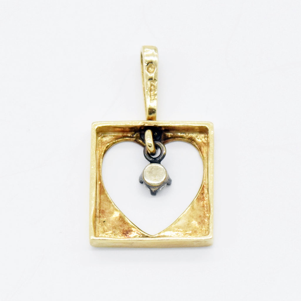 14k Yellow Gold Estate Open Diamond Heart Love Drop/Dangle Pendant