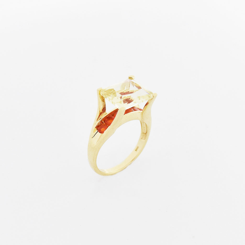 14k YG Double Setting Yellow & Orange CZ Cocktail Ring Size 8.25