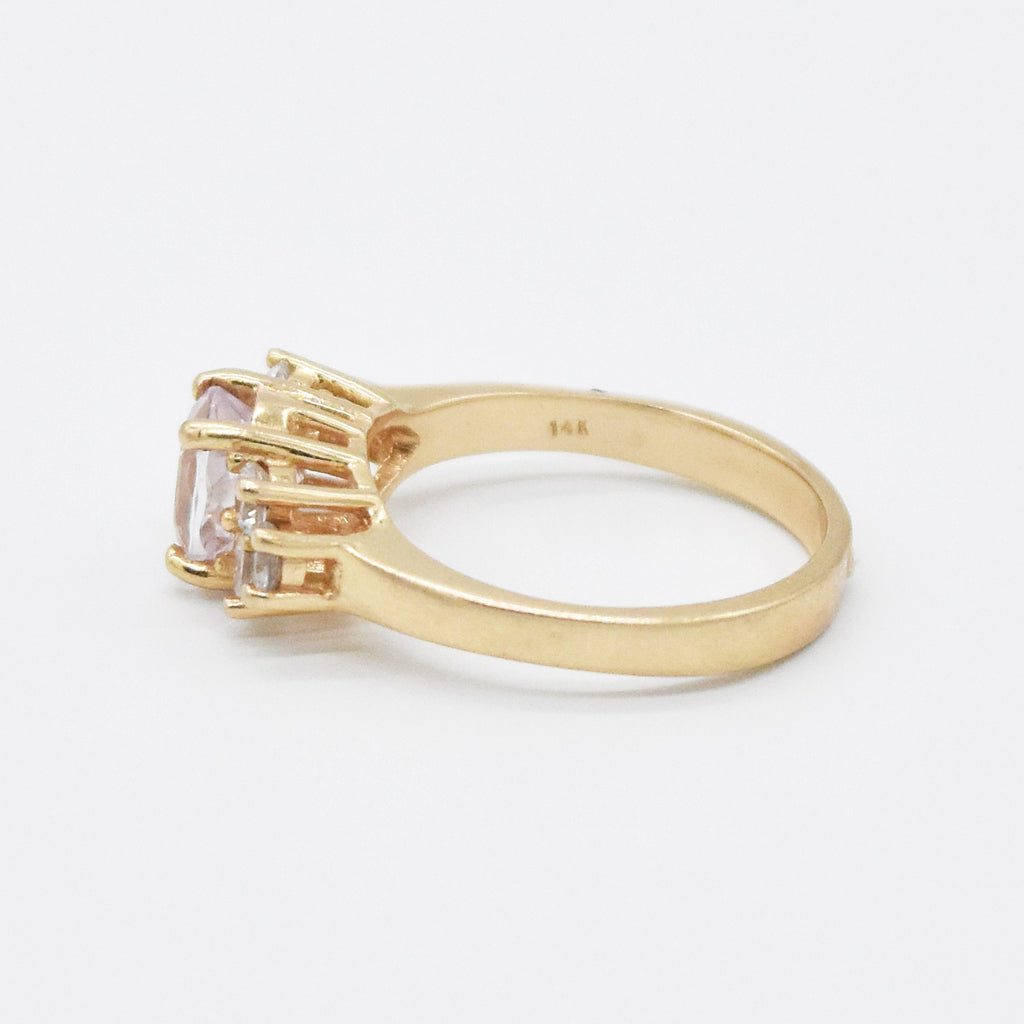 14k Yellow Gold Estate Pink Quartz & White Sapphire Ring Size 7.75