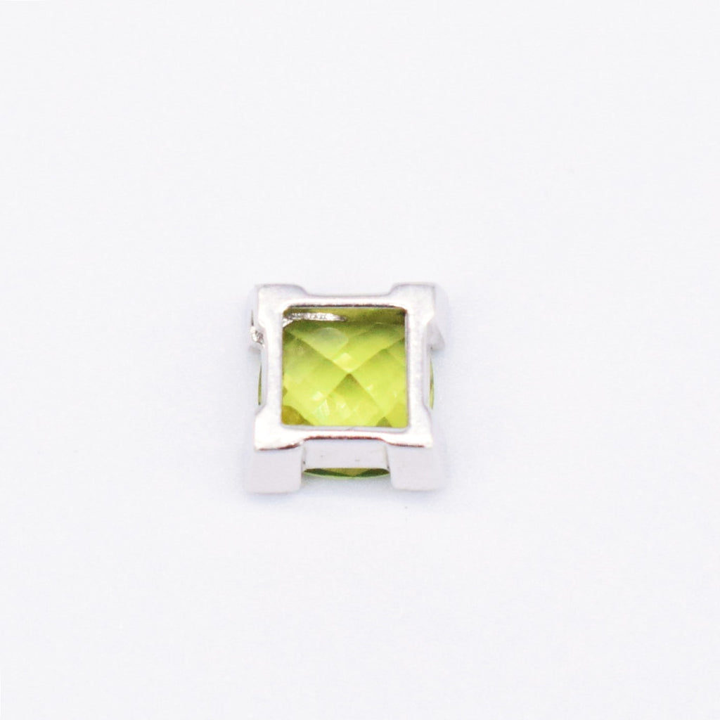 14k WG Cushion Cut Peridot & Diamond 0.12 tcw Pendant