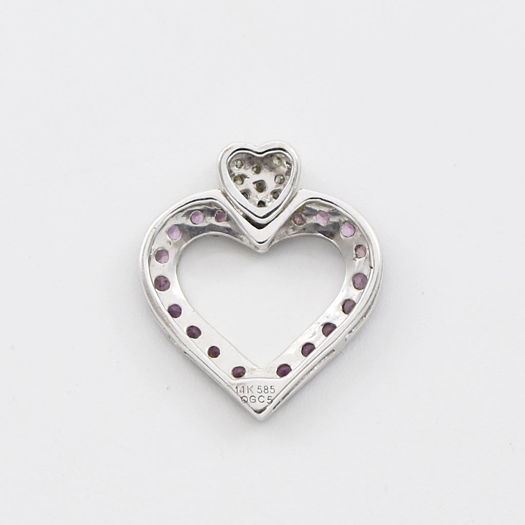 14k White Gold Estate Ruby & Diamond Open Heart Pendant