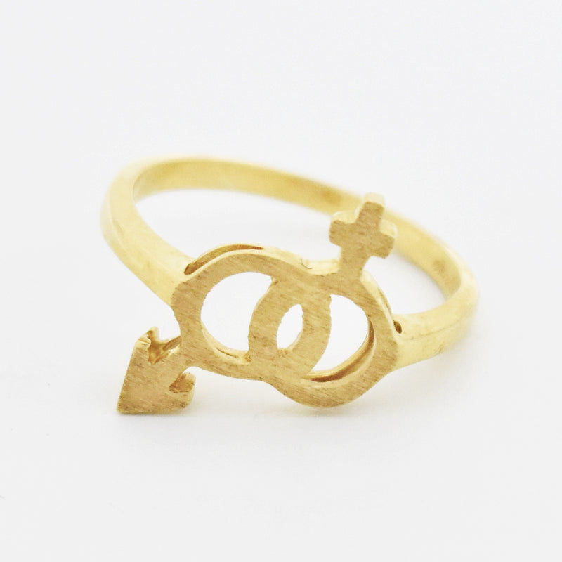 10k Yellow Gold Man/Women Marriage Symbol Ring Size 6
