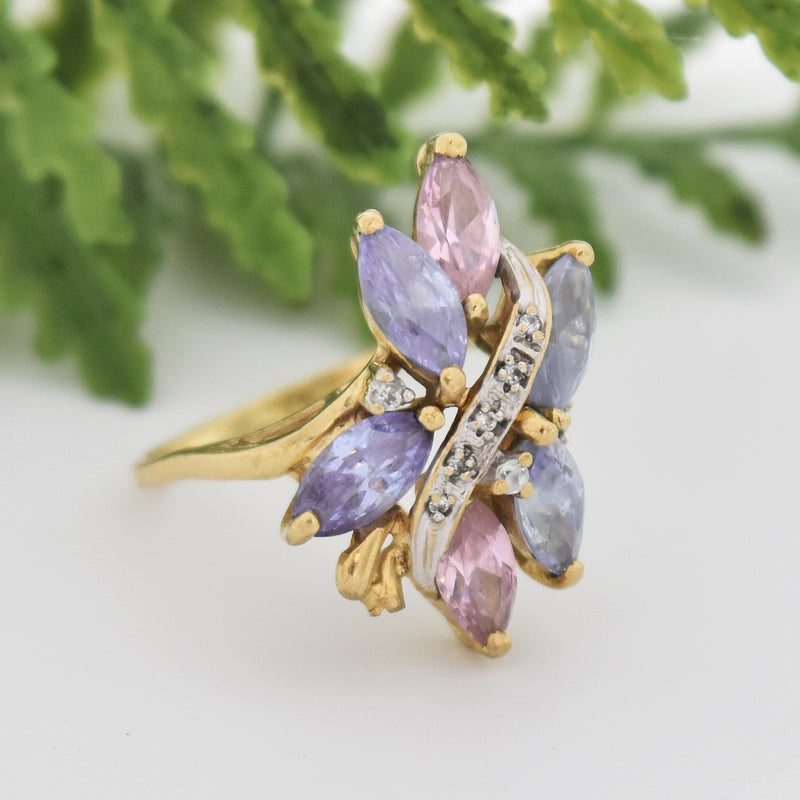 10k Yellow Gold Pink Blue & White CZ Gemstone Cocktail Ring Size 8