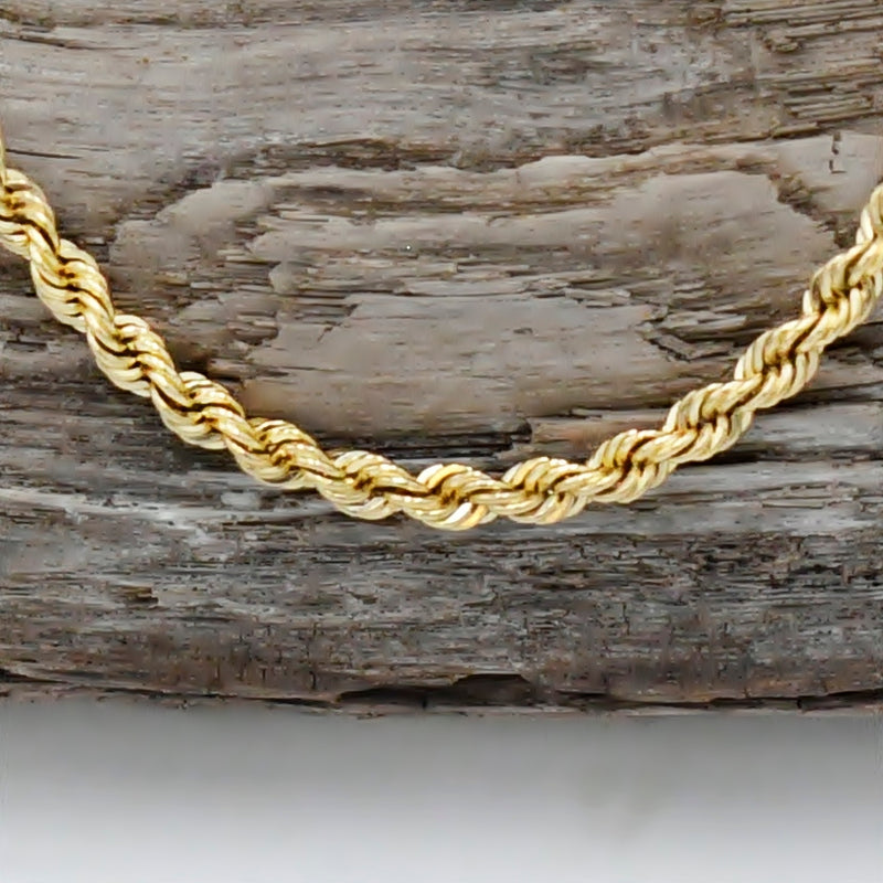 "14k Yellow Gold Estate Rope Link Chain/Necklace 24"" Long"