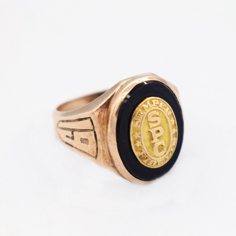 10k Yellow Gold Antique 1938 SPC Signet Ring Size 7