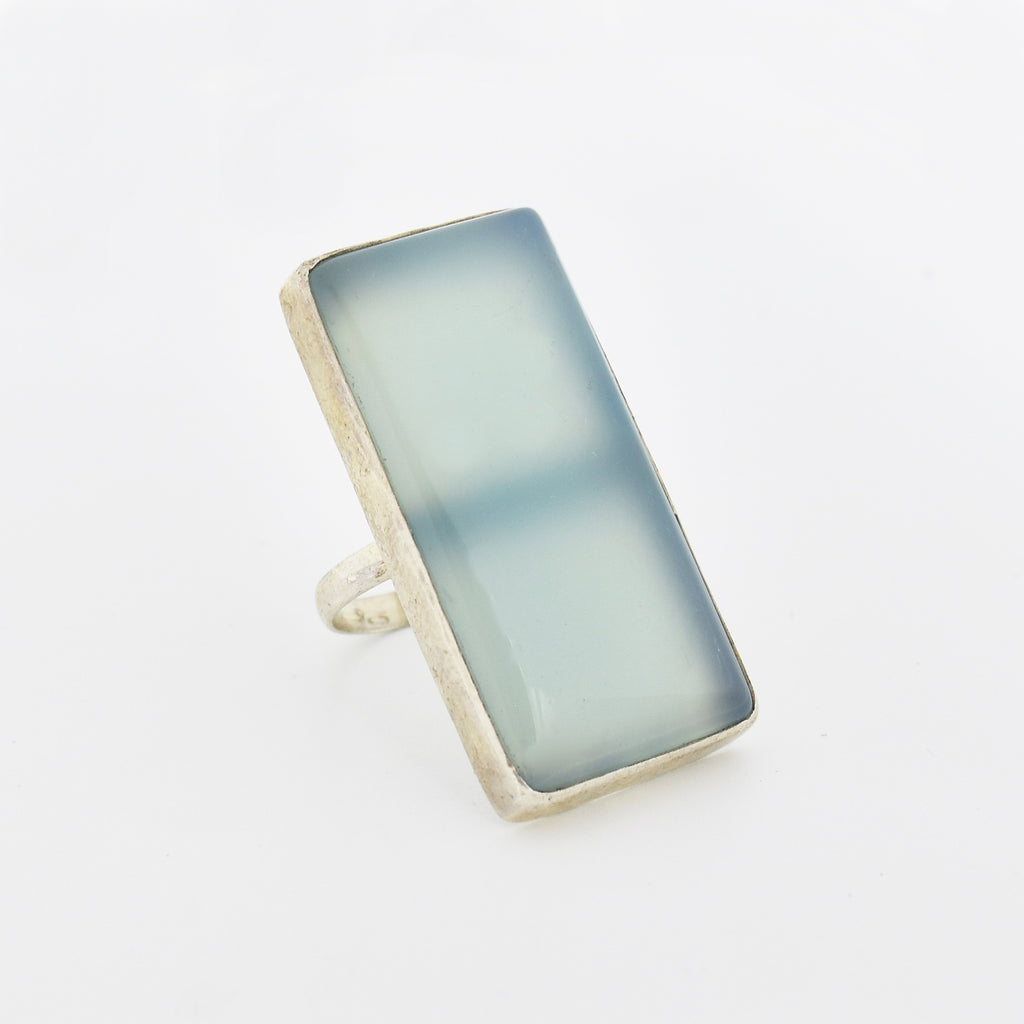 Sterling Silver 925 Estate Large Blue Opalescent Ring Size 9.75