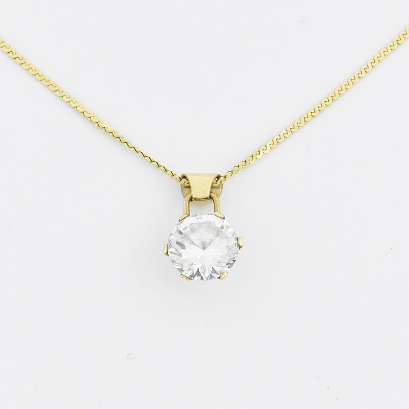 "14k Yellow Gold Estate 18.5"" CZ Dangle/Drop Necklace"