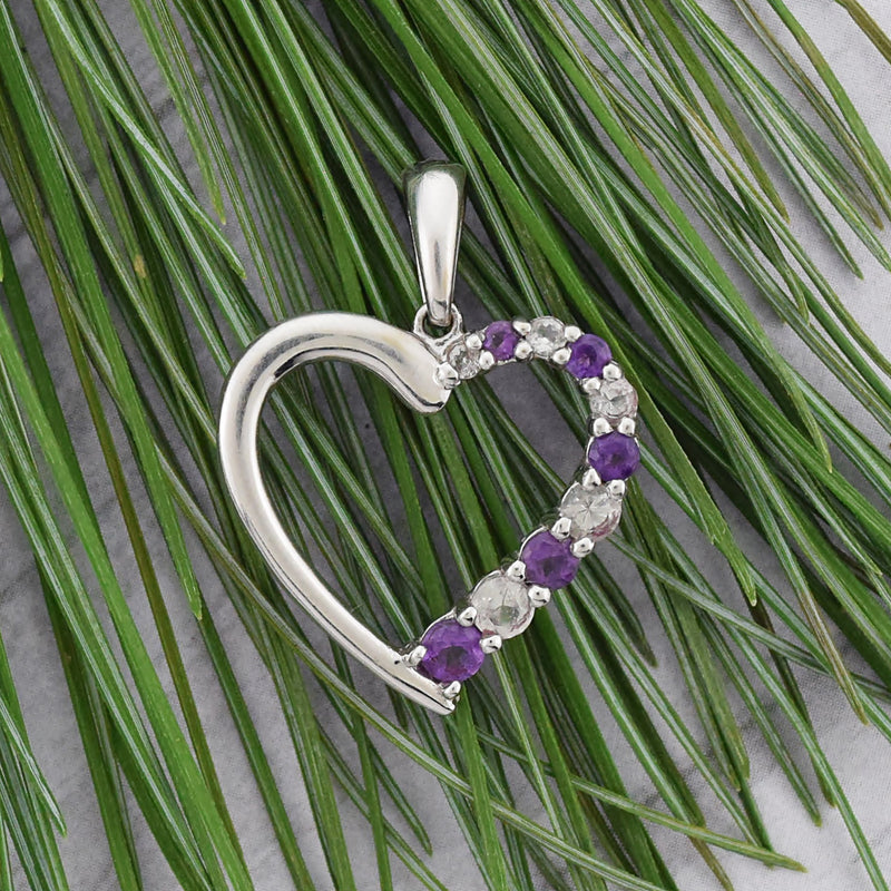 10k White Gold Estate White Sapphire & Amethyst Heart Pendant