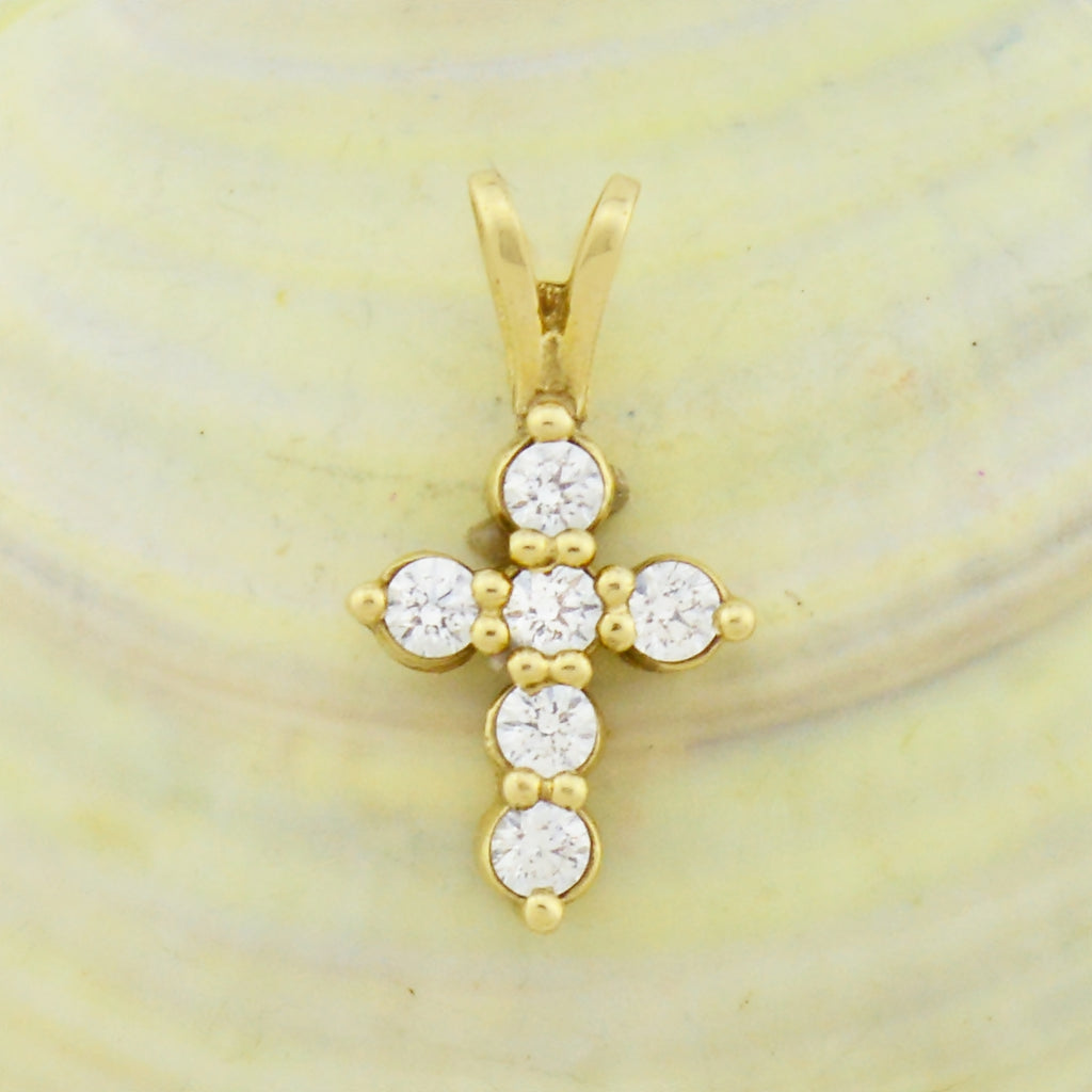 10k Yellow Gold Estate CZ Cross Religious Pendant