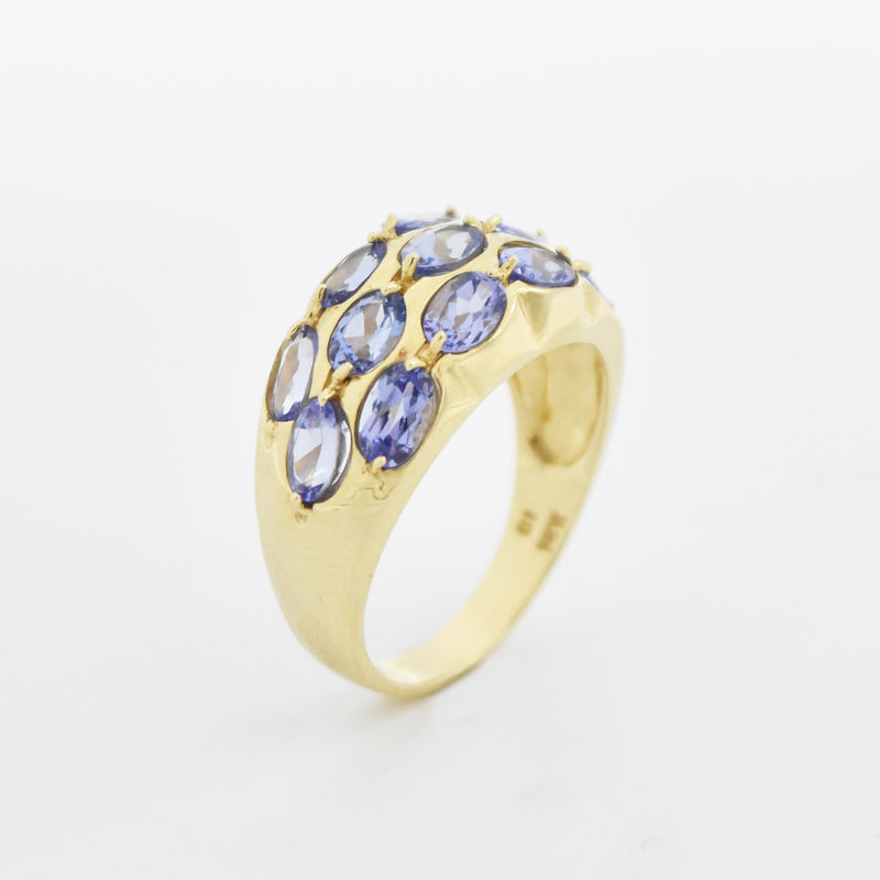 14k Yellow Gold Estate Multi Tanzanite Wide Band/Ring Size 9