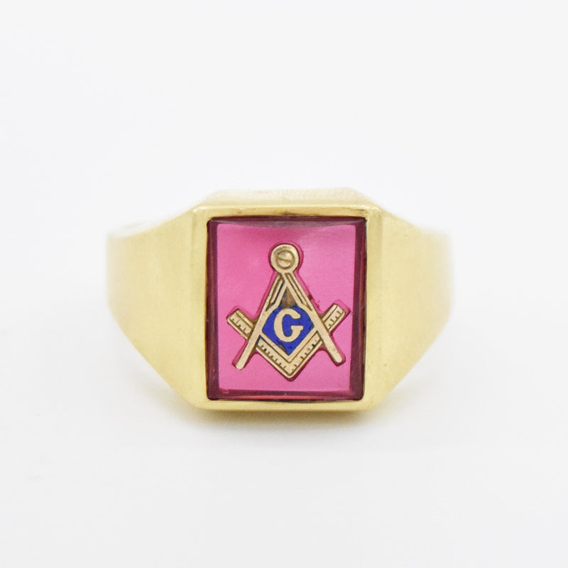 14k Yellow Gold Antique Ruby Masonic Ring Size 11.5