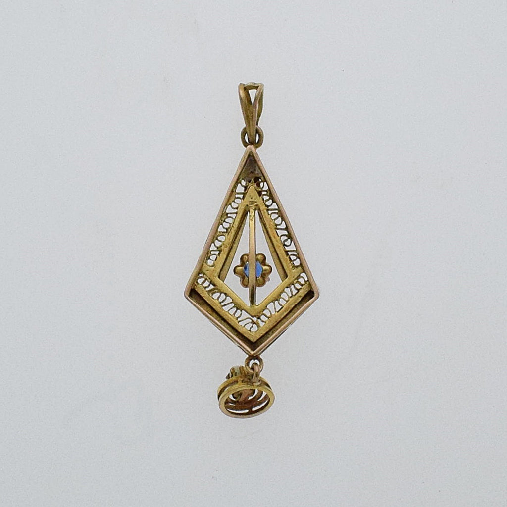 10k Y & W Antique Filigree Pearl 2 mm And Gemstone Lavaliere Pendant