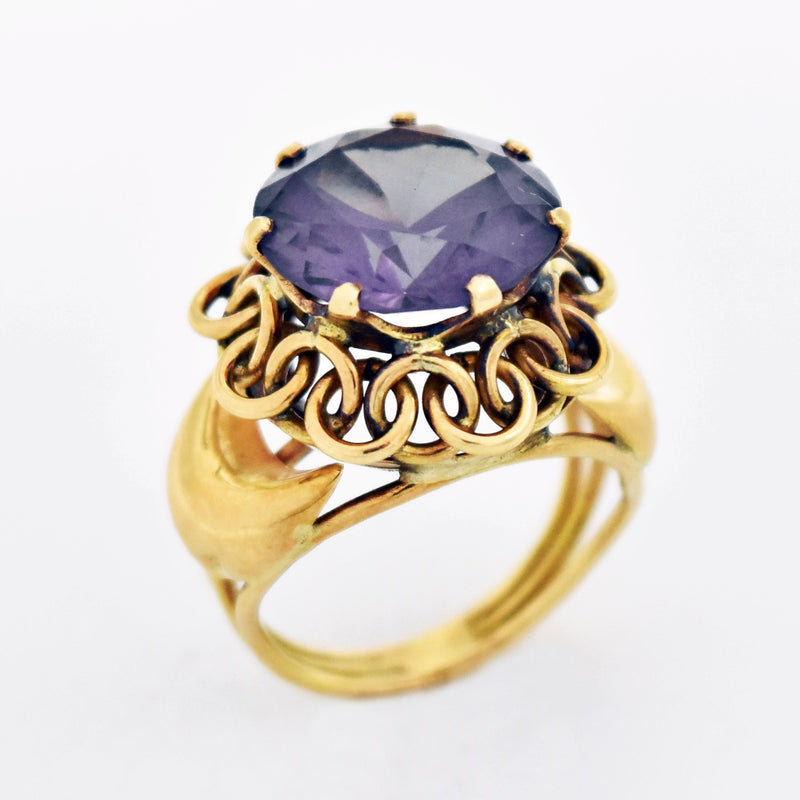 18k Yellow Gold Estate Filigree Purple Sapphire Ring Size 7