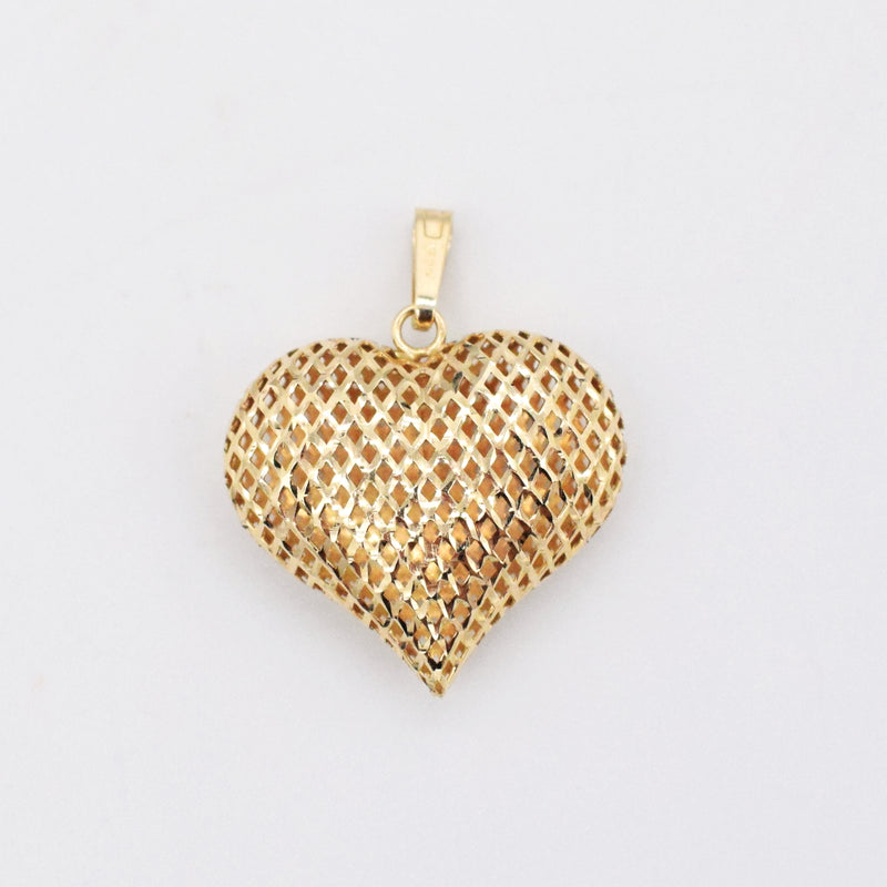 14k Yellow Gold Estate Diamond Cut Open Work Puffy Heart Pendant