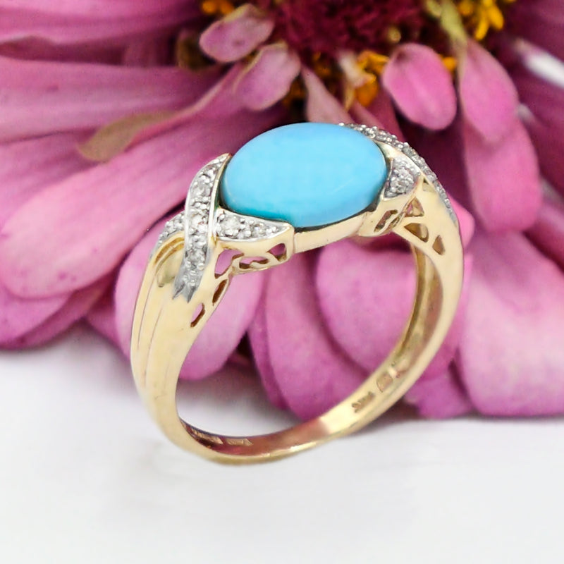 14k Yellow Gold Estate Swirl Turquoise & Diamond Ring Size 9