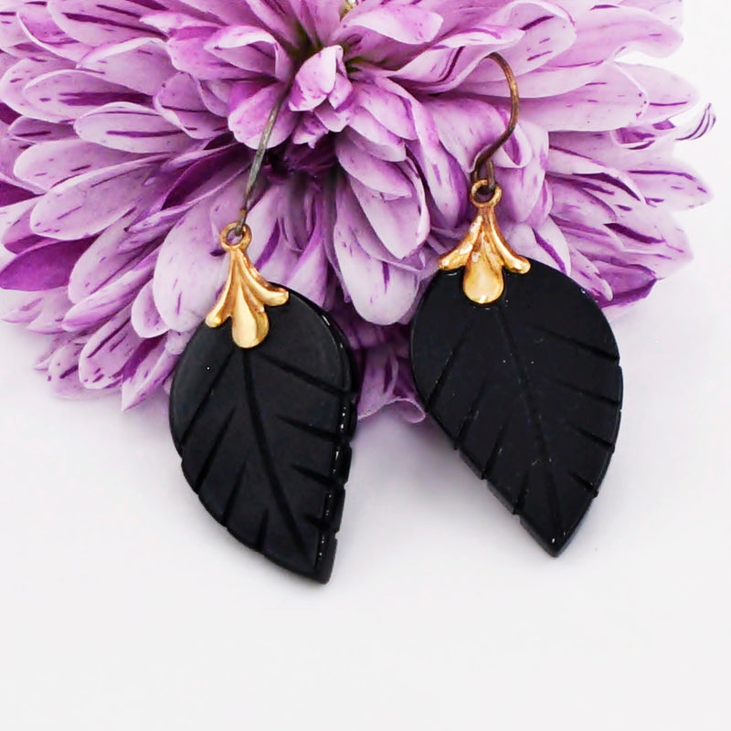 10k Yellow Gold Estate Black Jet Carved Leaf Dangle/Drop Earrings