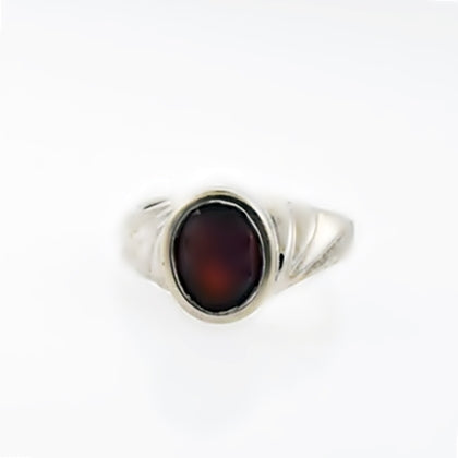 14k White Gold Vintage Red Amethyst Swirl Solitaire Ring Size 5.75