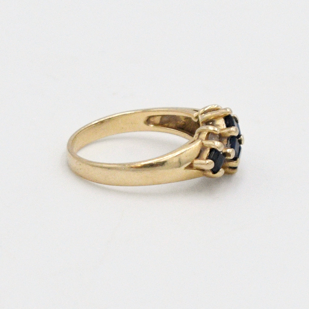 14k Yellow Gold Estate Designer EFFY Sapphire & Diamond Ring Size 6.5