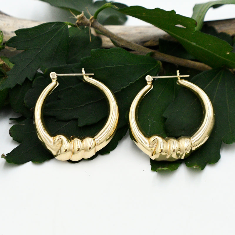 14k Yellow Gold Estate Rope Design Round Hoops/Hoop Earrings