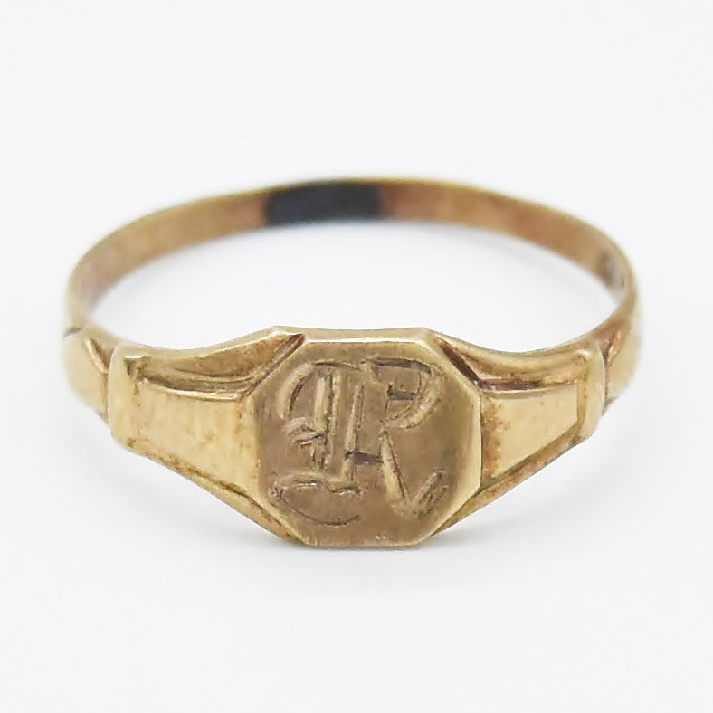 10k Yellow Gold Antique Initial Child/Baby Ring Size 3