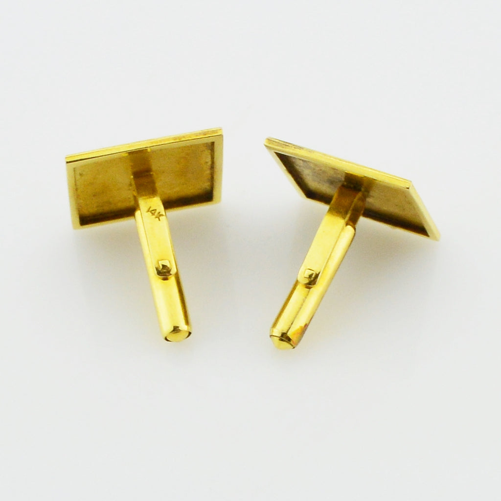 14k Yellow Gold Estate Chinese Symbols Happiness/Blessing Cufflinks