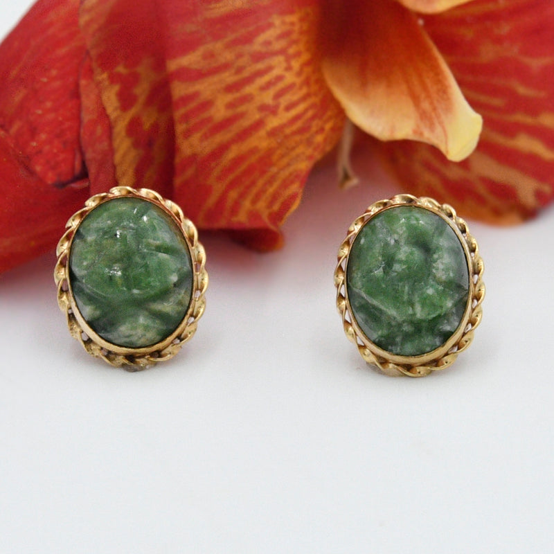 14k Yellow Gold Estate Carved Jade Gemstone Post Earrings