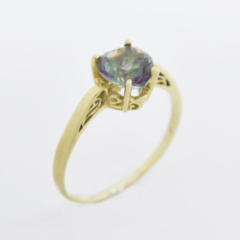 14k Yellow Gold Estate Filigree Mystic Topaz Heart Ring Size 11