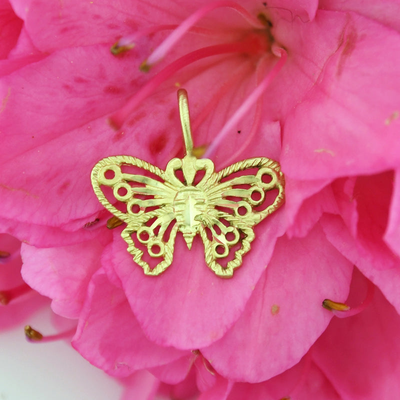 14k Yellow Gold Estate Filigree Butterfly Animal Charm/Pendant