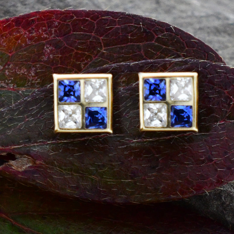 14k Yellow Gold Tanzanite & CZ Gemstone Studs/Stud Earrings