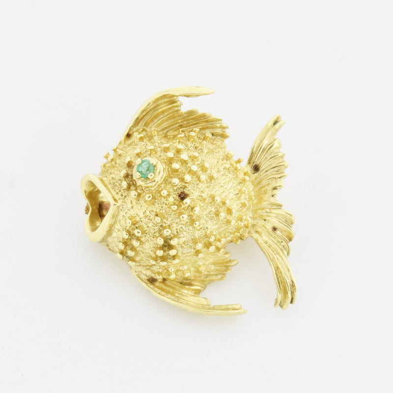 14k Yellow Gold Estate Textured Emerald Fish Pin/Brooch