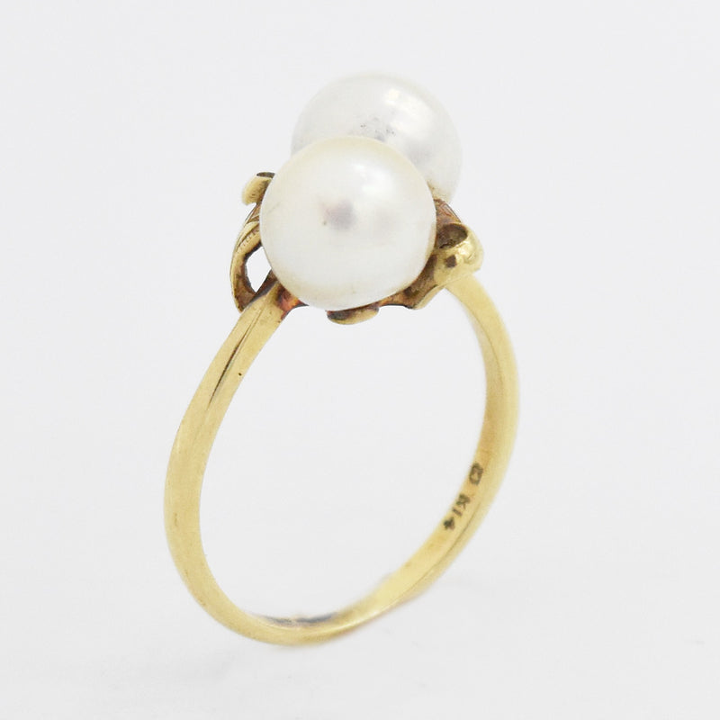 14k Yellow Gold Estate Swirl Leaf Design Double Pearl Ring Size 6