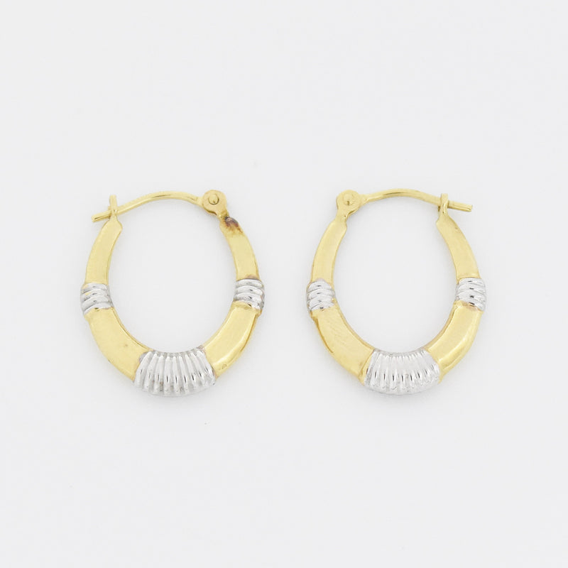 "14k Yellow & White Gold Estate Textured 3/4"" Oval Hoop Earrings"