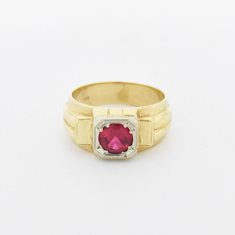 14k Yellow & White Gold Antique Art Deco Ruby Ring Size 9