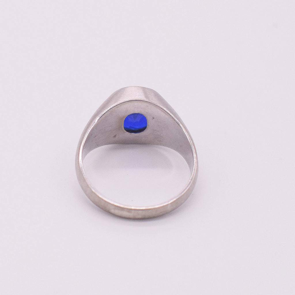 10k WG Textured Dark Blue Topaz Ring Size 10.75