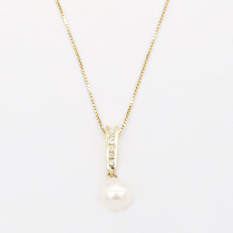 "14k Yellow Gold Estate 18"" Box Link Diamond & Pearl Drop Pendant"